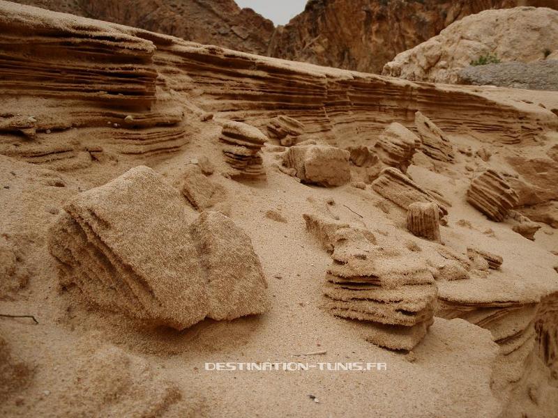 Petite falaise de sable (50cm !), ressemblant fortement aux falaises de Bonifacio (50m) en Corse. Les changements d'échelle, un des miracles de la géologie !