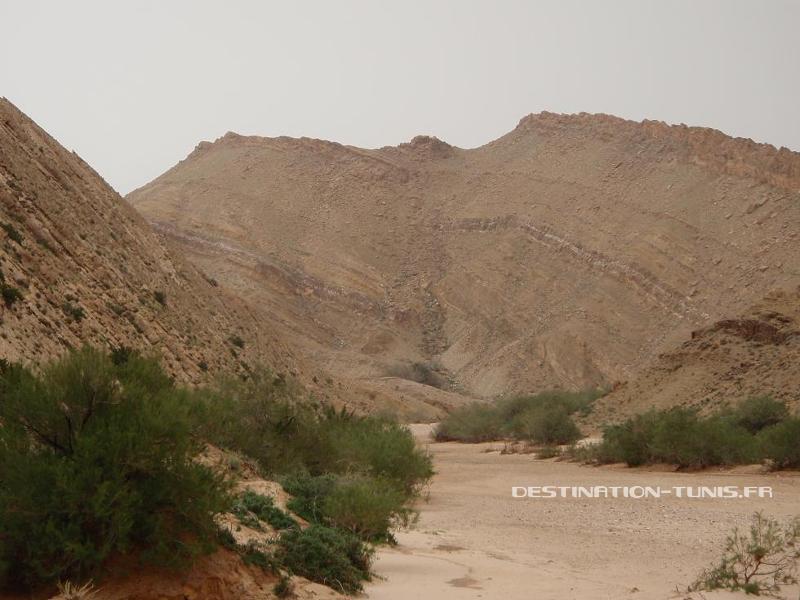La faille est bien visible dans le flanc du djebel, elle décale de plusieurs dizaines de mètres la strate ocre/blanche.