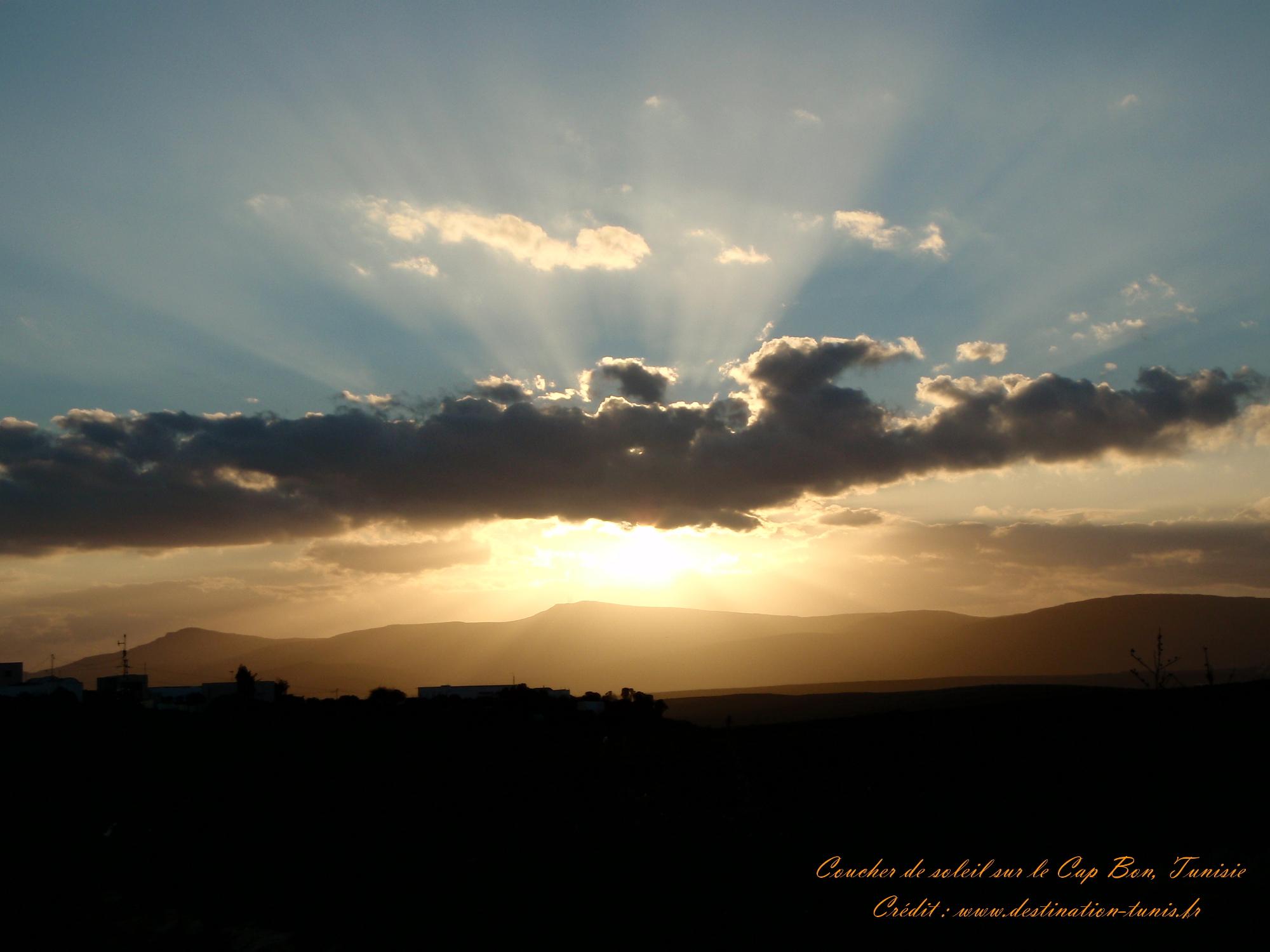 Fonds d'écran Montagne et Nature de Tunisie Coucher de soleil Cap Bon Tunisie