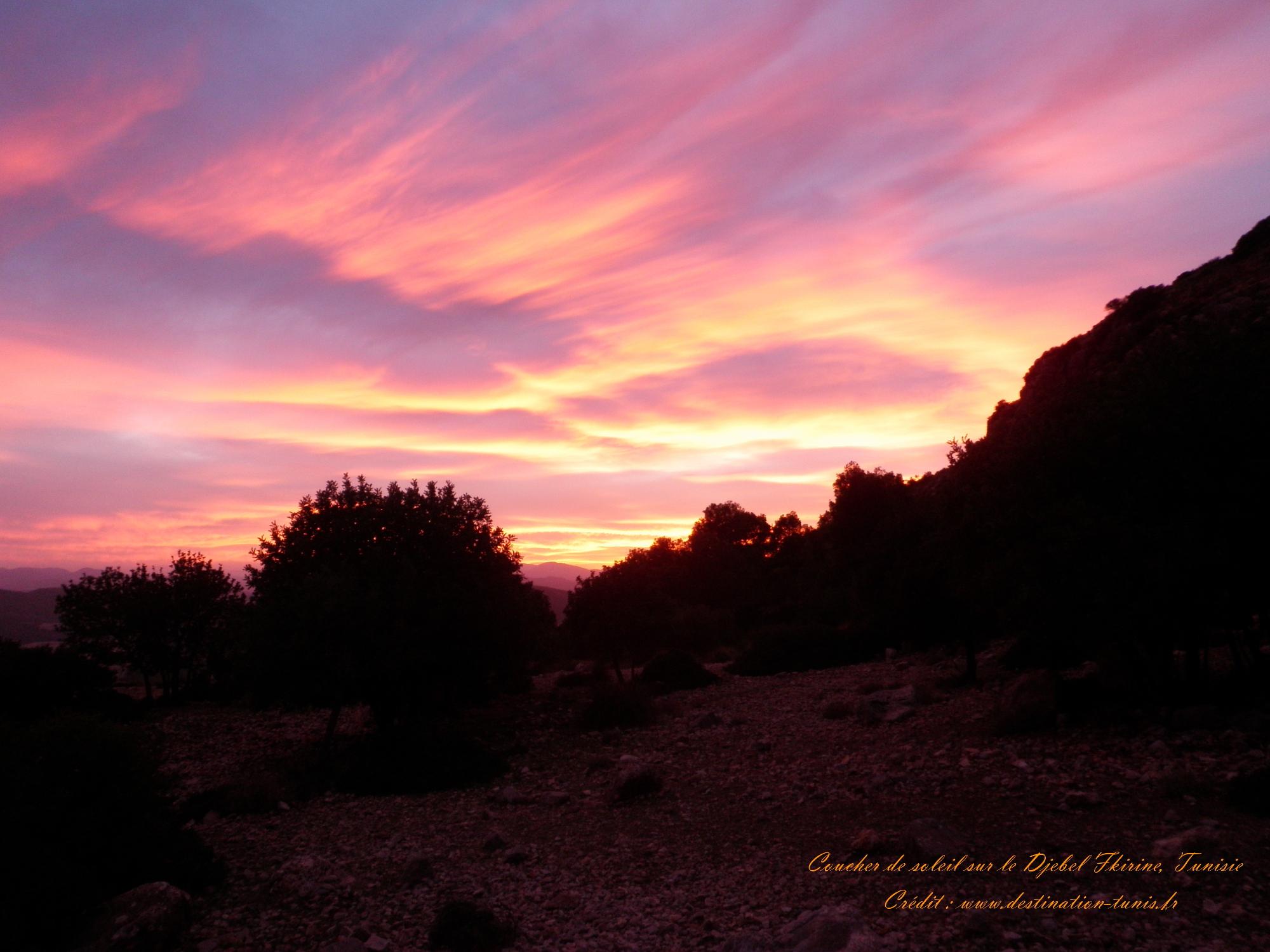 Fonds d'écran Montagne et Nature de Tunisie Coucher de soleil Djebel Fkirine Tunisie