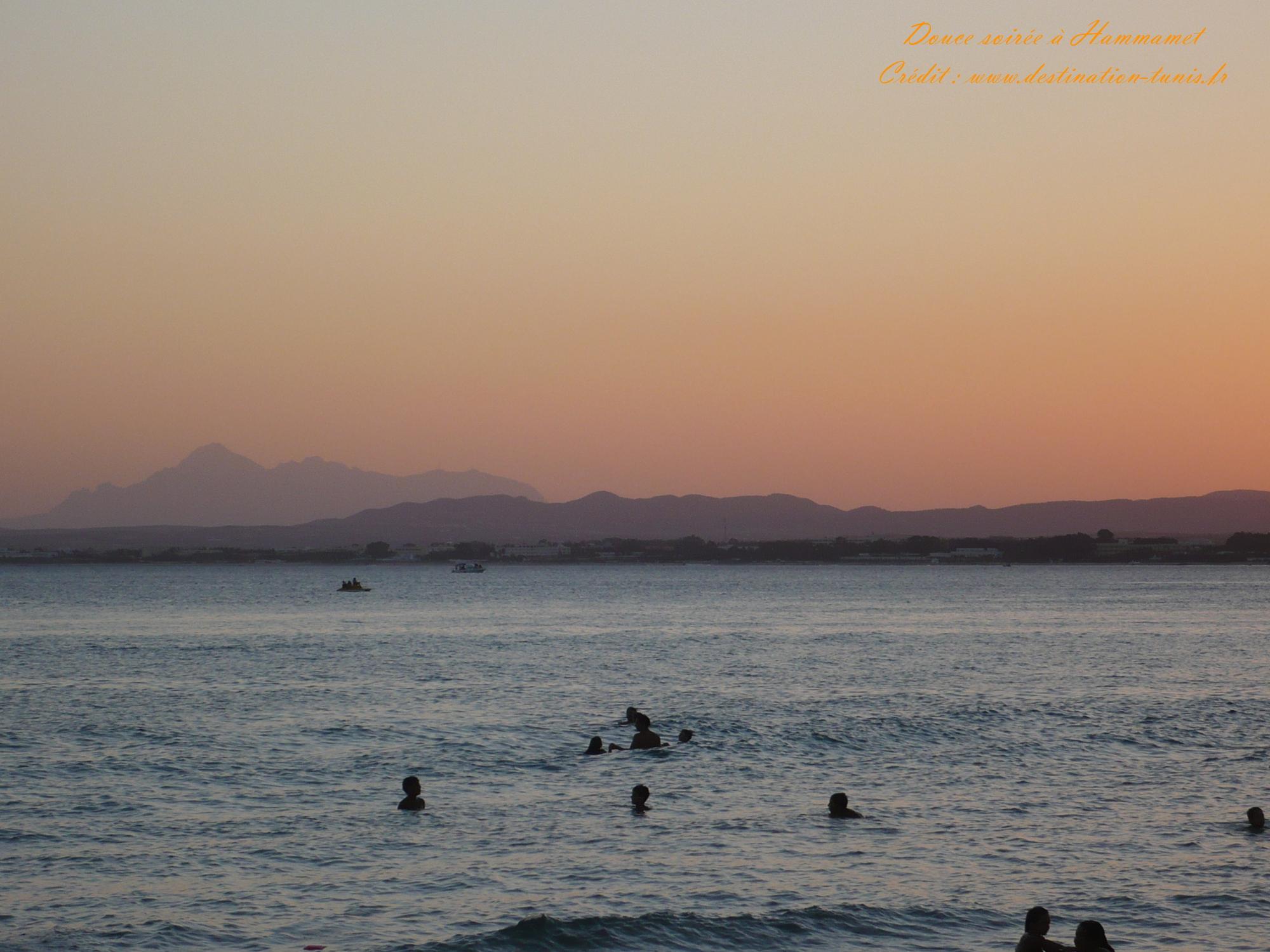 Fonds d'écran Mer et Plages Coucher de soleil Hammamet Tunisie