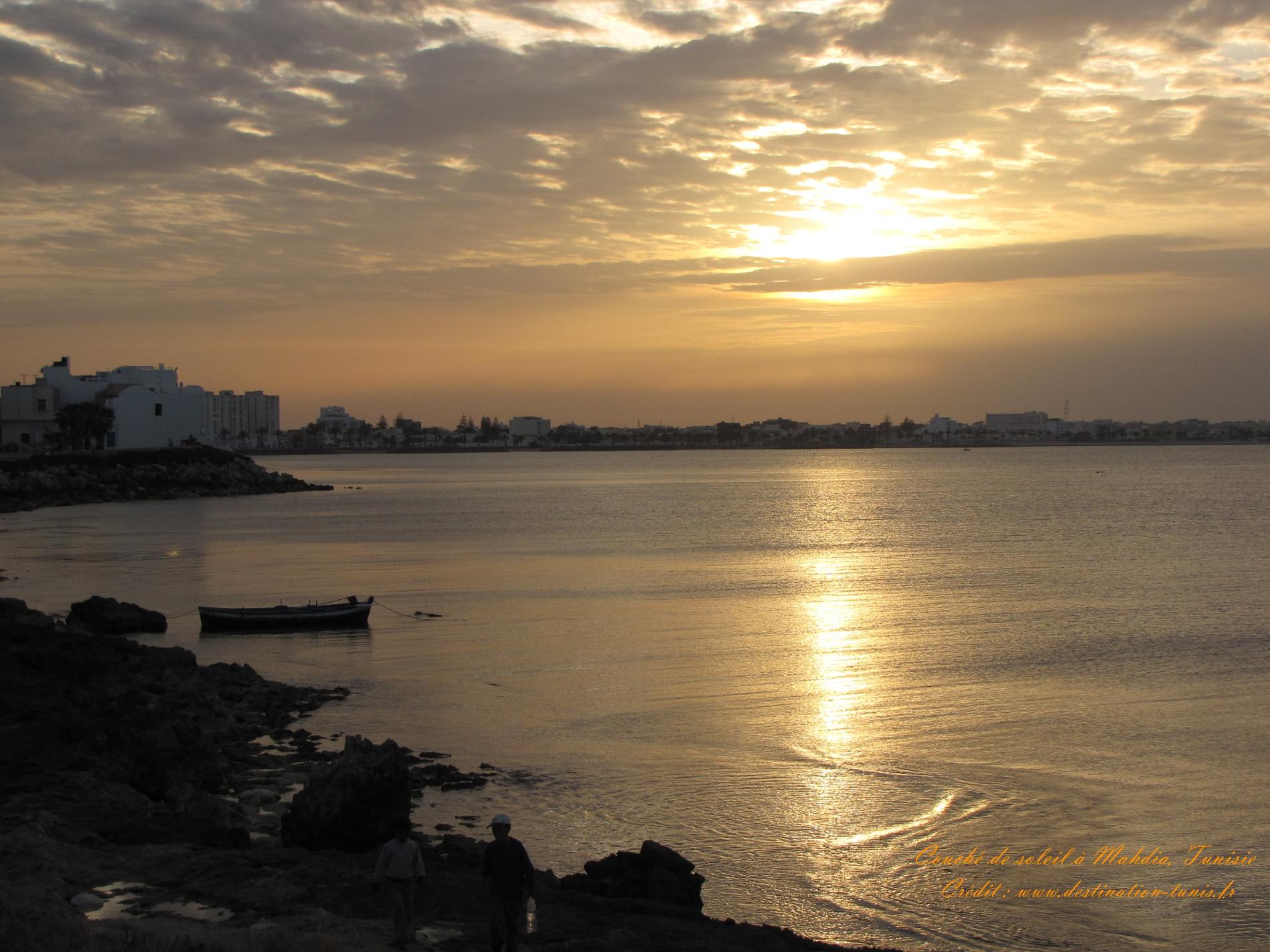 Fonds d'écran Mer et Plages Coucher de soleil Mahdia Tunisie