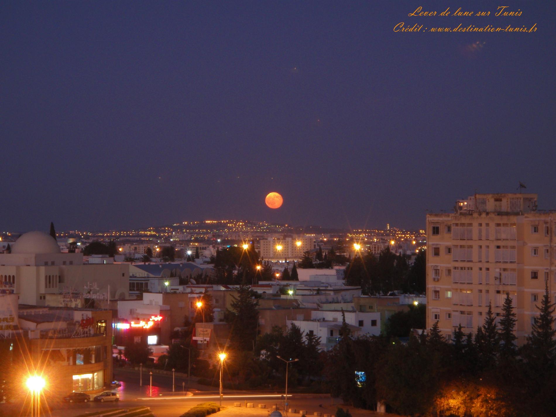 Fonds d'écran Mer et Plages Lever de Lune Tunis Tunisie