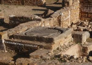 Un pressoir à olives au milieu des vestiges de Thuburbo Majus