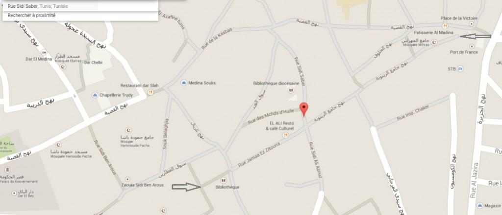 Itinéraire pour l'atelier de céramique dans la médina de Tunis
