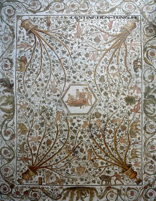 Mosaïque La maison de Silène exposée à El Jem