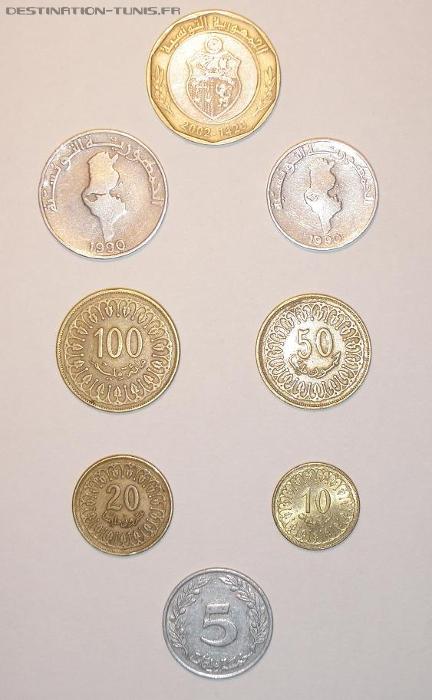Les pièces tunisiennes : 3 argentés, 6 dorées, 1 mixte.