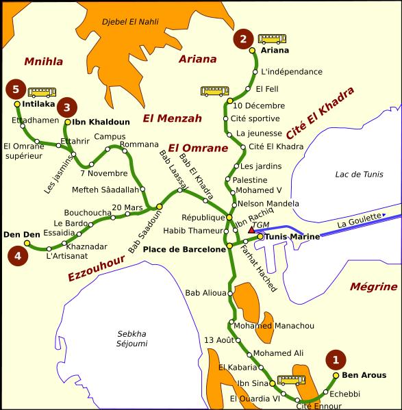 Plan du métro de Tunis (2004)