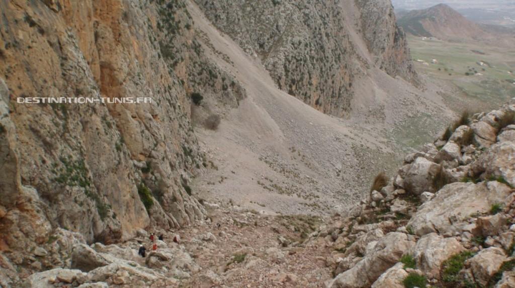 Deuxième partie de la descente, avant d'arriver dans les grands éboulis.