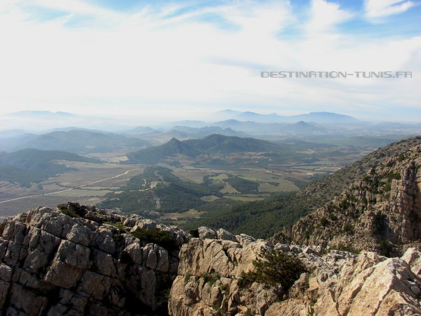Vue vers le sud : les massifs du Serdj et du Bargou se détachent de la brume