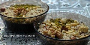 Gastronomie tunisienne : bols d'Assida Zgougou, dessert servi pour le Mouled en Tunisie